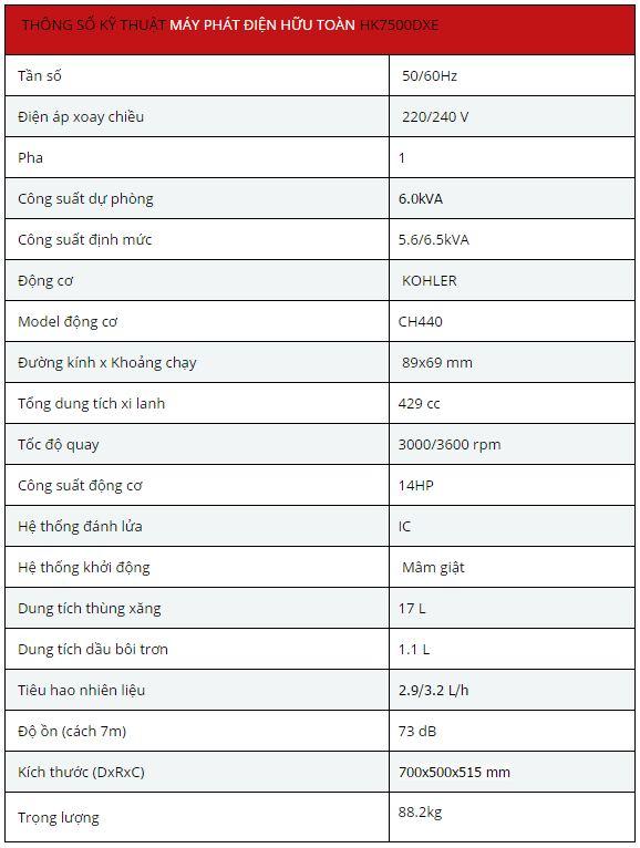Máy phát điện Hữu Toàn HK7500DXE