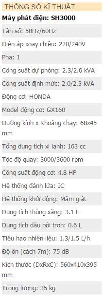 Máy phát điện hữu toàn SH3000