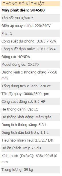 Máy phát điện Hữu Toàn SH4500