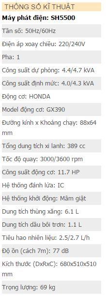 Máy phát điện Hữu Toàn SH5500